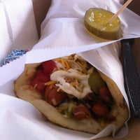 Photo taken at Short Leash Mobile Hot Dog Eatery by Jennifer H. on 3/28/2012
