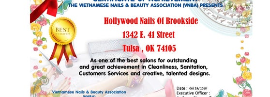 Viet Nails & Beauty Association (VNBA) proudly presents Hollywood Nails Of Brookside as one of Top Best Salons for great performance and eye-catching ...
