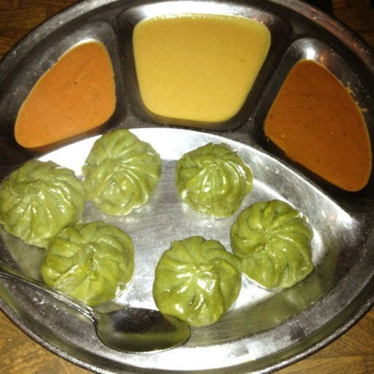 My @pandafoodie recommends: Spinach Momo's With Peanut, Sesame And Tomato Chutneys. Such a great vegetarian appetizer.