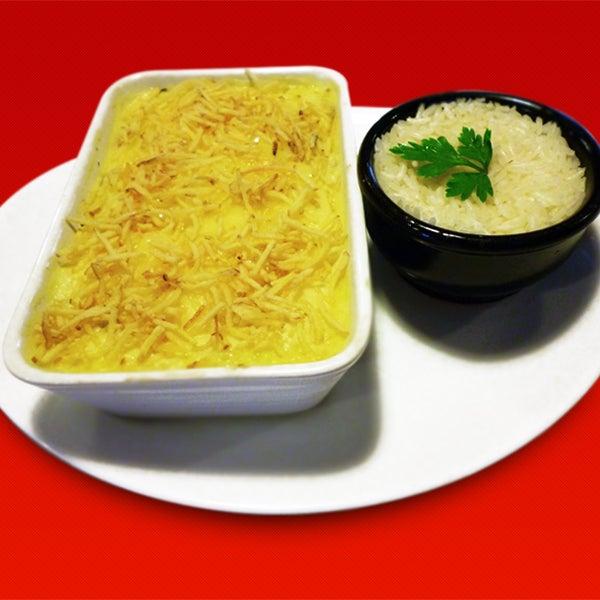 Escondidinho de Carne Seca - servido na quarta-feira - Carne seca desfiada, purê de batata com mandioquinha, batata palha e arroz