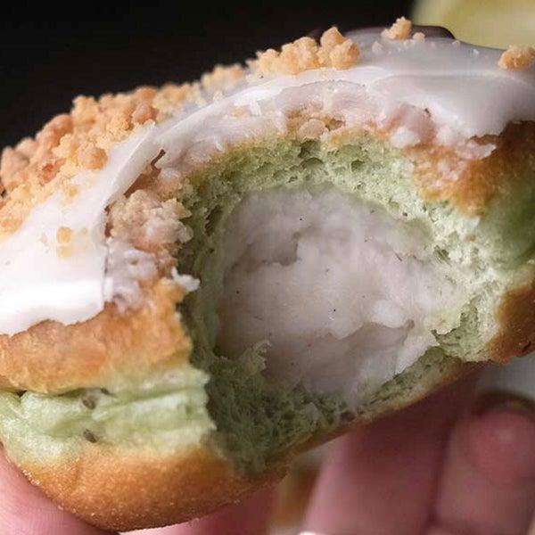 Coconut Custard with Spirulina Dough and Lime Glaze = 🥰