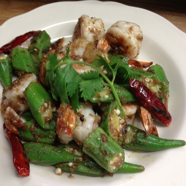 Try the new shrimp satay with okra special