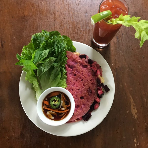 Falansai is now serving Vietnamese brunch on the weekend. Try the vegan red beet rice crepe! It's delicious!
