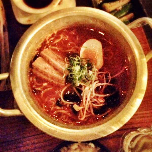 The spicy ramyun after 9pm is spectacular, but don't miss the pork fat ddok bukki or the (surprisingly amazing) pajeon.
