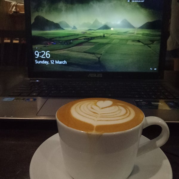 Their flat white is good.  Plus it's 24hr so it's a good place to do work