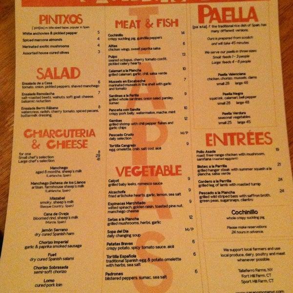 Large gluten-free tapas menu