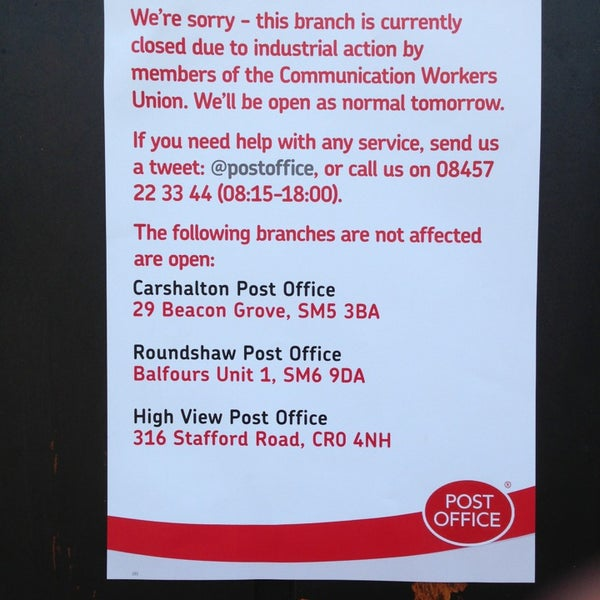 is the post office open tomorrow