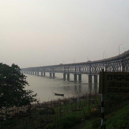 Image of wide view of scenic road cum rail bridge on godavari river in rajahmundry
