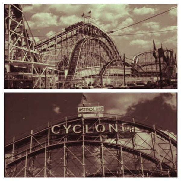 The Cyclone was originally built in 1927. The coaster uses a chain to pull the train to the top of the 1st plunge, it then runs on its own momentum reaching up to 68 mph through 9 drops and 6 curves.