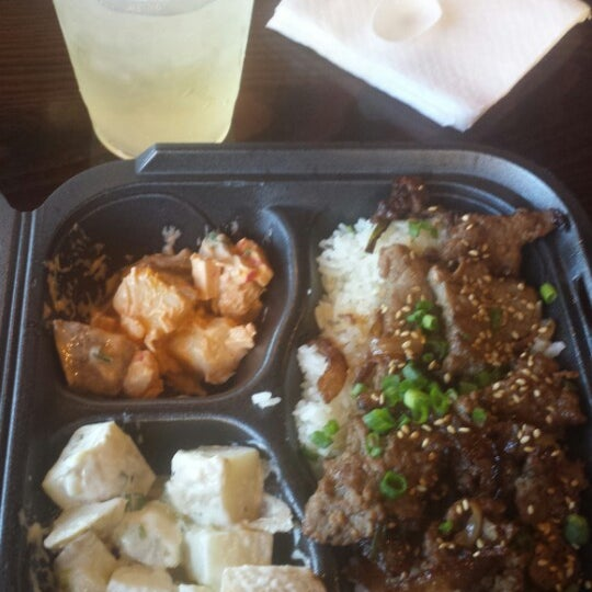 Bulgogi, Spicy Crab Potato Salad, Honey Dijon Potato Salad & Aloe Juice.