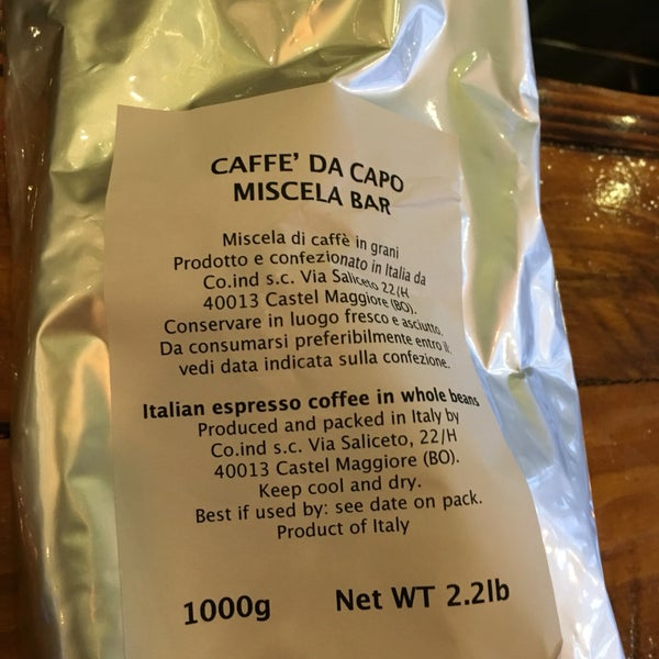 The coffee is imported from Castel Maggiore (close to Bologna), Italy.