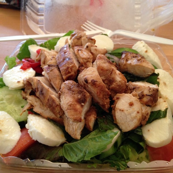 Caprese salad with chicken is a great healthy choice.