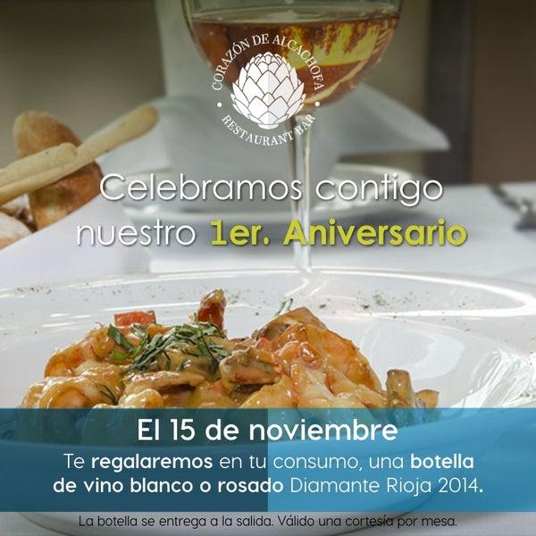 En Corazón de Alcachofa queremos festejar nuestro primer aniversario contigo, regalándote una exquisita botella de vino como agradecimiento.
