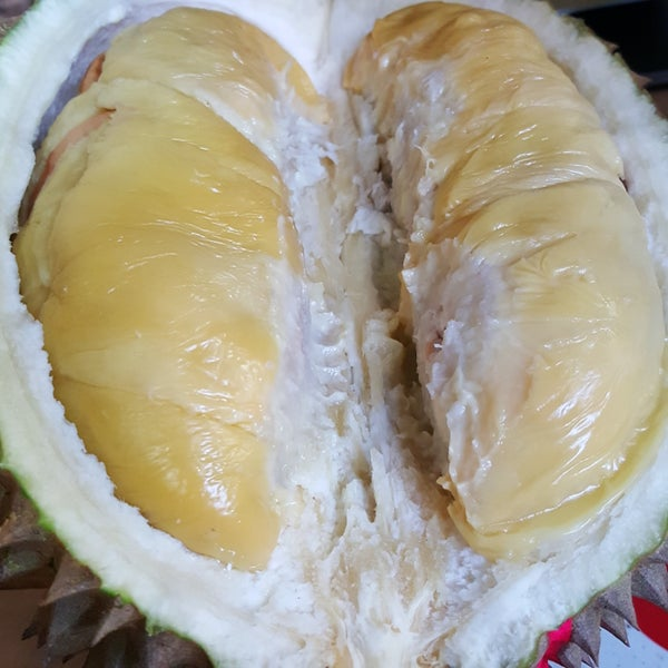 Awesome durians. I ate one that was creamy, sweet, bitter, and left a slight tingling sensation on the tongue which some folks think it's because it was freshly picked. Free water available.