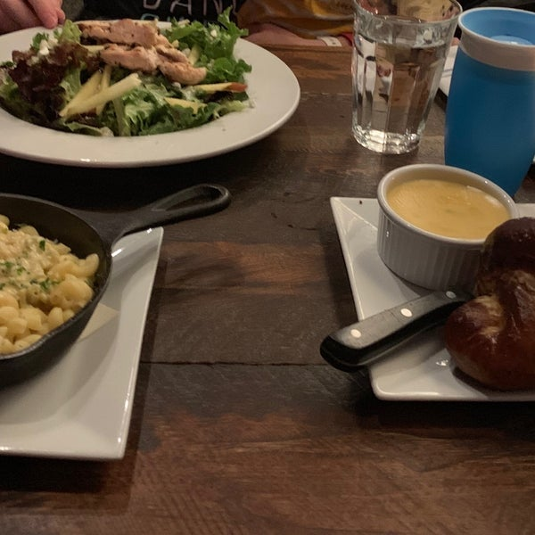 Was excited about great reviews and atmosphere but this was a total disappointment. Salad was fine but the pretzel was hard, the cheese like coagulated Tostitos dip and the Mac was totally flavorless