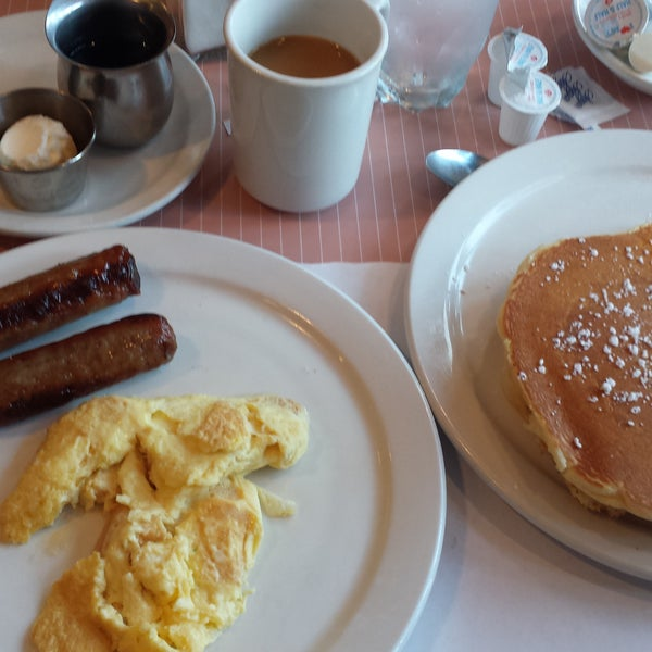 "The 2x4 - simple breakfast - covered all the bases! Eggs, awesome pancakes, and link sausage. Very attentive staff kept my coffee cup topped off. Remember to bring cash or use the ""no fee"" atm."