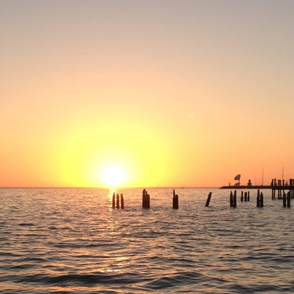 Great sunset view from the pier. Get a cold one from the bar in a to go cup and enjoy!
