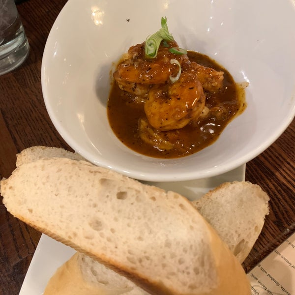 Wicked good shrimp - gulf coast shrimp, spices, and served with bread for dipping. #sanctuaria #24hourfoodgeek Follow us at http://24hourfoodgeek.com