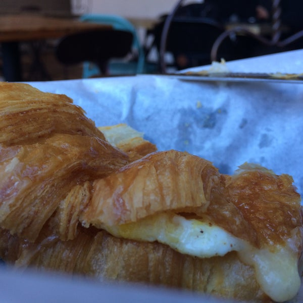 Decadence is a soft crumbly croissant with egg and melty lappi cheese