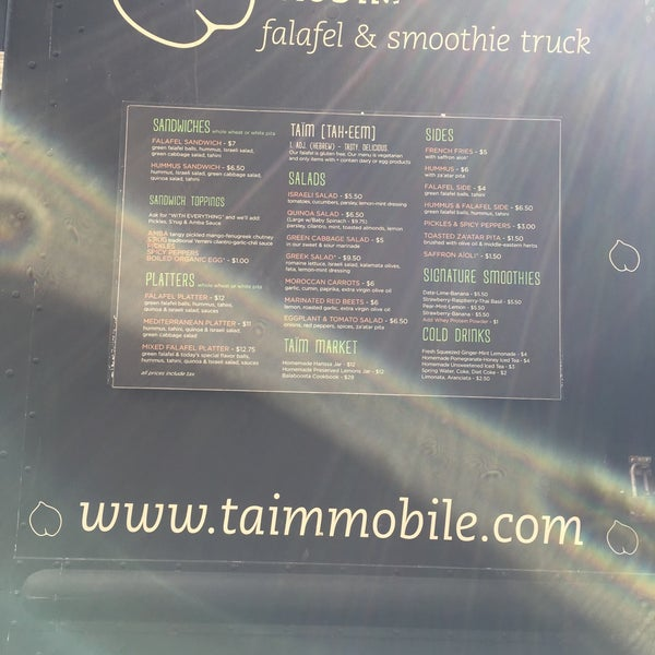 3/30/2016 tarihinde Error404 H.ziyaretçi tarafından Taïm Mobile Falafel & Smoothie Truck'de çekilen fotoğraf