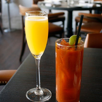The Bloody Marys at Nopa Bar + Kitchen are phenomenal. The mix is made in house and is full of flavor, with a hint of mustard and pickled radish.