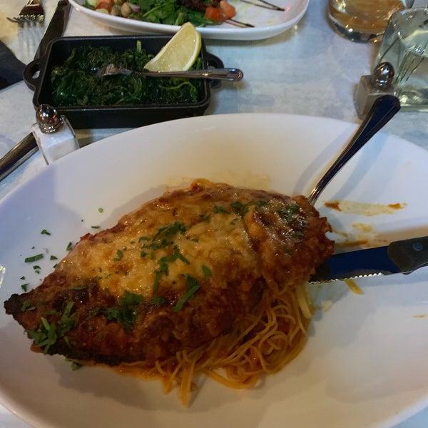 Great chicken Parm and capellini al denote