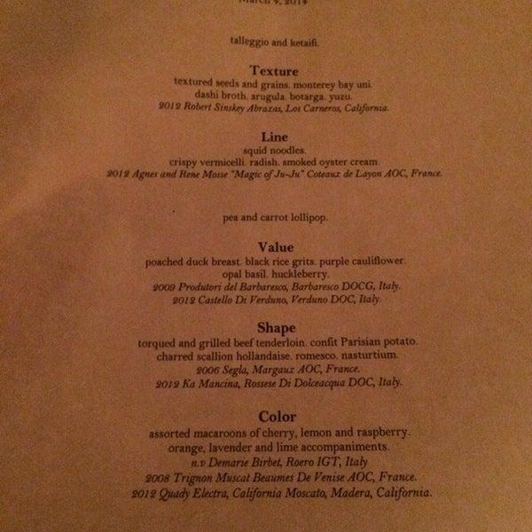 Chef's five course tasting menu