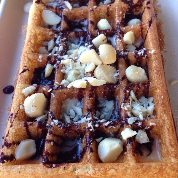 I have decided that yeasted Belgian waffles are  heaven. (pictured: with coconut jam, gianduja, macadamia)