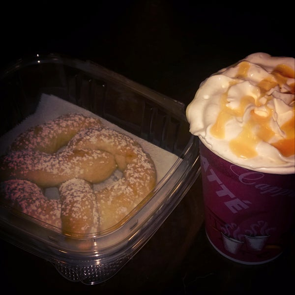 Soft Ptetzels, macchiatos, cappuccino and other expresso drinks.