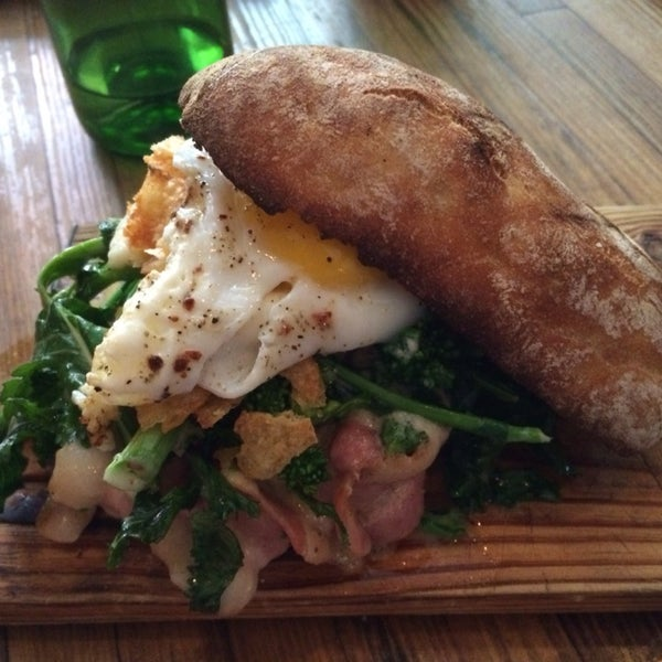 Deluxe up a broccoli rabe sandwich with an egg and some bacon. You may need to use a fork but worth it