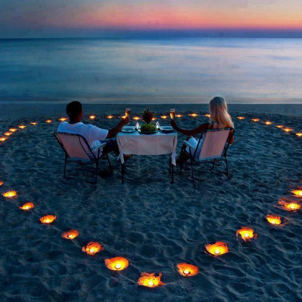 Private dinner for two on the beach to watch the sunset is a must!