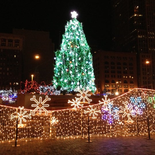 Christmas Lights On Cleveland Public Square: Pedestrian Plaza In Cleveland
