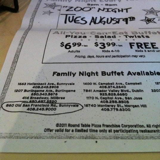 Round Table Family Night Buffet.Photos At Round Table Pizza Ponderosa Sunnyvale Ca