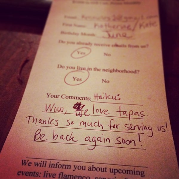 Foto scattata a Tasca Spanish Tapas Restaurant & Bar da Tyler M. il 1/4/2014