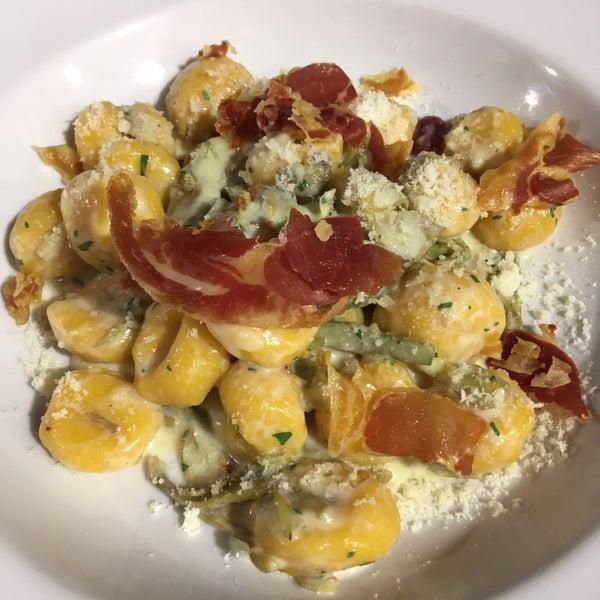Gnocchis de calabaza con alcachofa queso y jamón...cuasiorgásmico