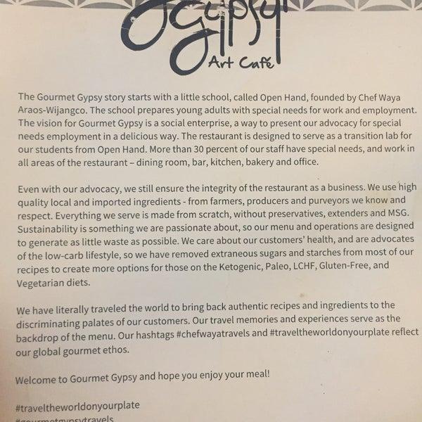 gourmet gypsy menu