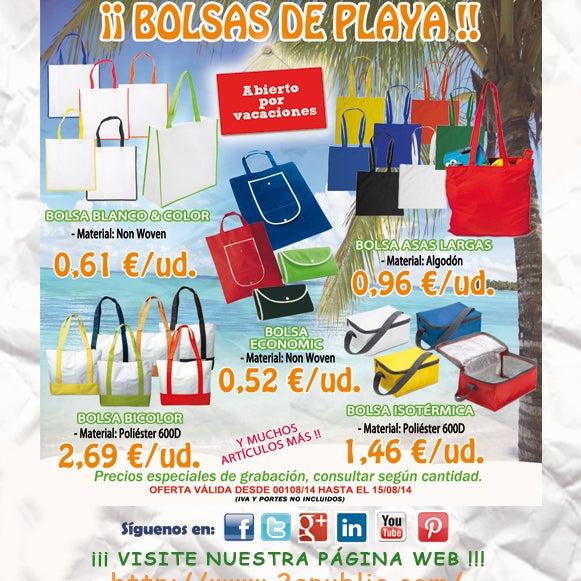 ¡¡ 2A - Oferta BOLSAS de PLAYA !!  No se requieren cantidades mínimas. #mochilas #bolsas #summer #playaomontaña #publicidad #comunicacion #marketing #regalosdeempresa #leonesp #merchandising