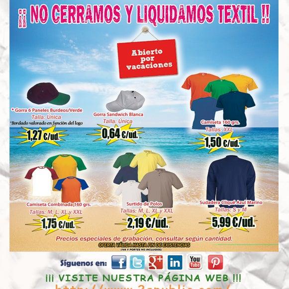 ¡¡ 2A - Liquidación TEXTIL !! Colecciones de camisetas, gorras, polos y sudaderas a precio de costo. Aprovecha esta oportunidad. NO se requieren cantidades mínimas.