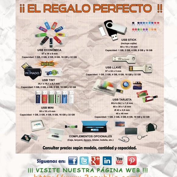 ¡¡ 2A MEMORIAS USB: el regalo perfecto !! Solicítanos precio en función del modelo, la cantidad, y la capacidad.