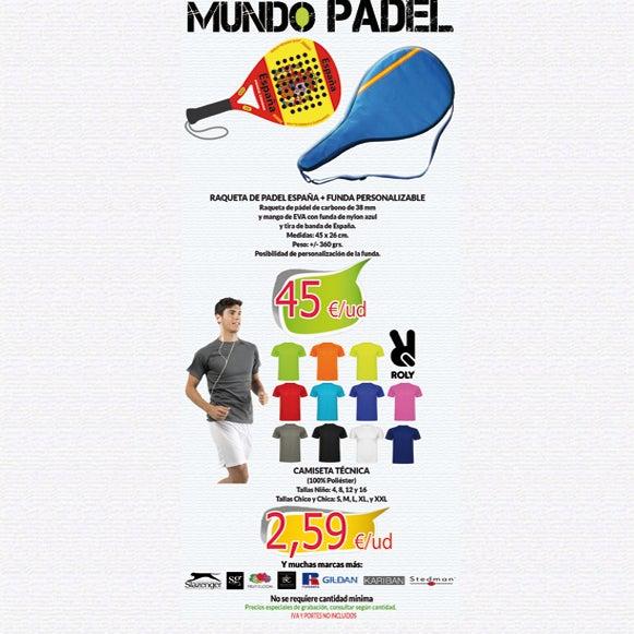 ¡¡¡ 2A - MUNDO PADEL !!!. Raqueta de Padel de España con la posibilidad de personalización de la funda y camisetas técnicas para disfrutar de tu deporte favorito. NO se requieren cantidades mínimas.