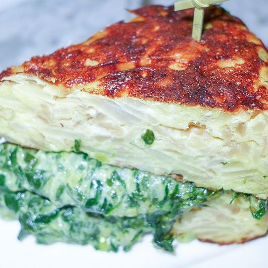 """One phenomenon this year was sandwiches made with substitutes for the usual two slices of bread. This spots """"Tortillas de doble capa,"""" is filled with spinach and leeks which tumble out the sides."""