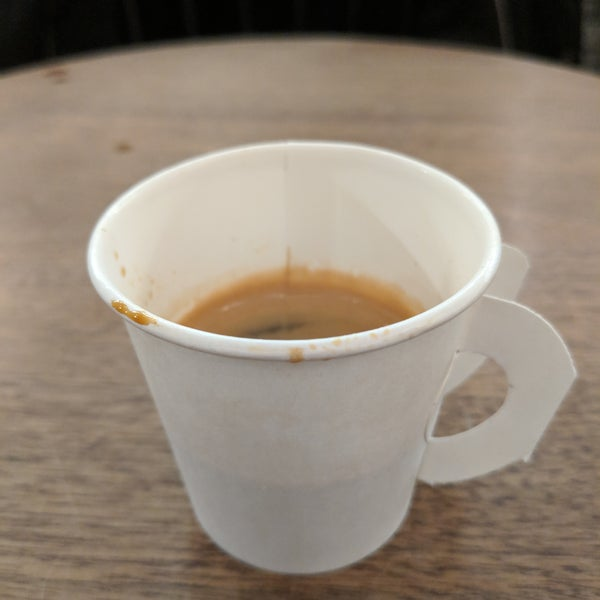 Espresso was good but PLEASE no small hospital sippy cup for espresso!!