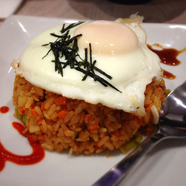 Try the Kimchi Fried Rice! Delicious! It comes topped with an egg and melted mozzarella cheese.
