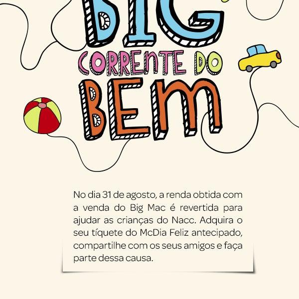 Seja bem vindo ao Nacc. Hoje daremos o pontapé inicial na nossa #BigCorrentedoBem. O #McDiaFeliz 2013 já começou. Adquira seu tíquete antecipado a R$ 11,50 na sede do Nacc ou no fone (81) 3267-9200