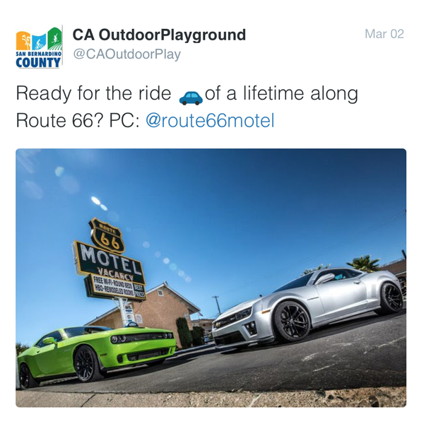 We were just featured on Twitter.  #route66