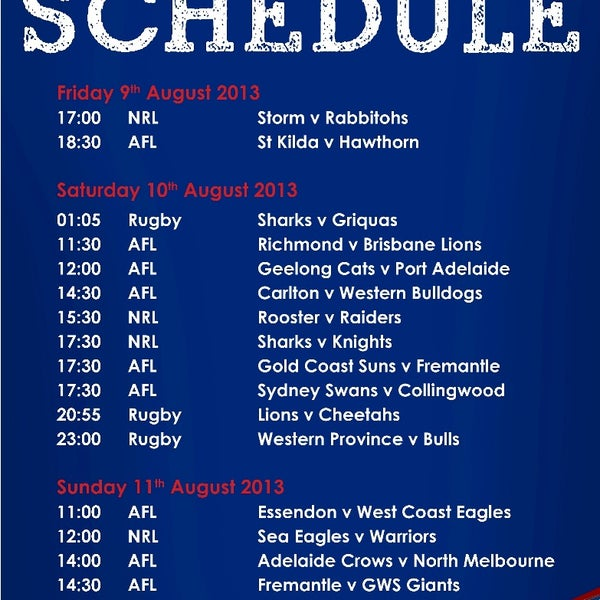 Check it out this week footy schedule - Live at The Deck!!
