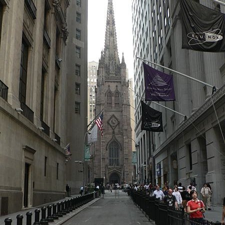 Opened in 1846, this Gothic Revival style building is the third and current home of Trinity Church, part of the Episcopal Diocese of New York City.