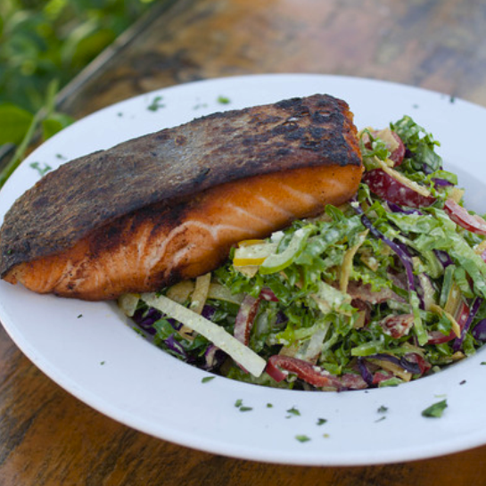 Check out the new menu! Salt & Pepper Salmon on the Prohibition Salad....So Good!