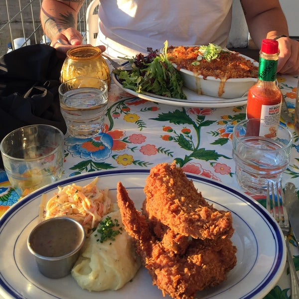 Pro tip: ask for table in back patio. Fried chicken and biscuits and gravy are a must.