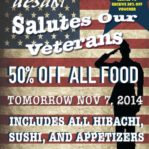 HALF OFF ALL FOOD THIS FRIDAY 11/7/14 IN HONOR OF VETERANS DAY! #sushi #hibachi